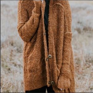 Free People RARE rust boucle oversized cardigan